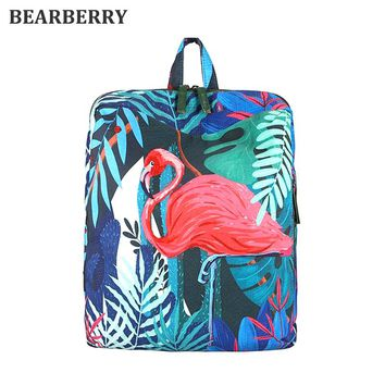 BEARBERRY 2017 Tropical Rain Forest Koala  Flamingo Printing Backpack Cartoon 3D Animal Backpack School Bags For Teenager Girls