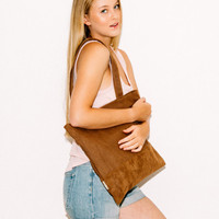 Leather Tote Bag - Vegan Leather Tote - Slouchy Tote Bag - Brown Bag - School Bag - Book Bag - Market Bag