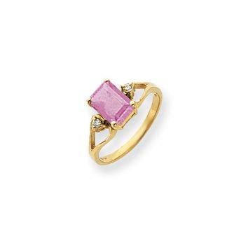 0.05 Ct  14k Yellow Gold 8x6mm Emerald Cut Pink Tourmaline Diamond Ring I1 Clarity and G/I Color