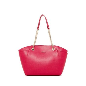 Furla Women's Julia Gloss Pink Ruby Saffiano Leather Tote Bag