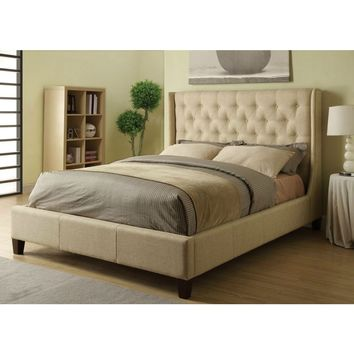 Queen Size Tan Polyester Upholstered Bed with Button-Tufted Headboard