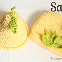 SALE Crochet Pear hat and diaper cover set, handmade, 100% cotton, Photo Prop/newborn photography/0-3 months, can be made in other sizes