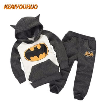 2017 New Children Outfits Tracksuit Batman Clothing Children Hoodies + Kids Pants 2 pcs kids Sport Suit Boys Clothing Set
