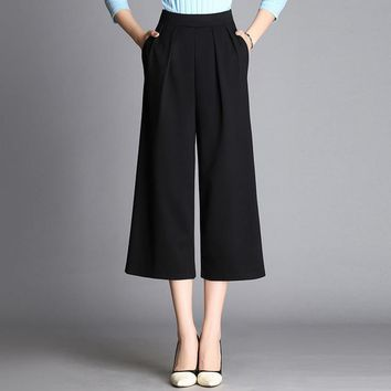 Spring Fall Loose Wide Leg Pants Capris Pants Casual Cropped Trousers Calf Length Ankle Length Plus Size Female Black White