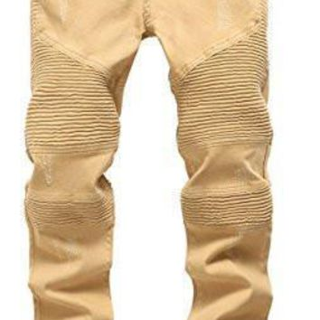 qiyif Men 's Khaki Biker Moto Distressed Destroyed Fashion Skinny Slim Fit Jeans
