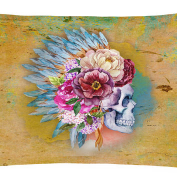 Day of the Dead Flowers Skull  Canvas Fabric Decorative Pillow BB5129PW1216