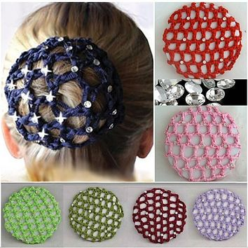 Women New Hot Beautiful Bun Cover Snood Hair Net Ballet Dance Skating Crochet Fanchon Rhinestone