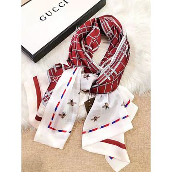 GUCCI Women Fashion New More Letter Bee Print Plaid Scarf No Box
