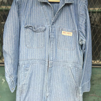 Mens size 42 R HOT ROD Vintage Mechanic Jumpsuit Herringbone Denim Coveralls Work Chore Gas Station Pit suit