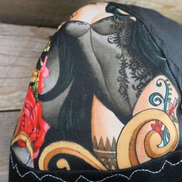 Black Day of the Dead Pin Up Girls Size 7 5/8 Hybrid Welding Cap