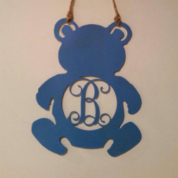 Monogram Teddy Bear, Door Wreath, Wall Sign, Baby shower, Nursery, Hospital door, Baby Shower, Nursery Decor, Newborn gift idea, Nursery