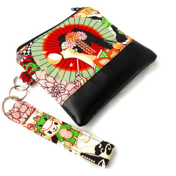 Modern Geisha Wristlet Clutch - Fashion Harajuku Leather Zipper Pouch