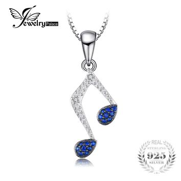 JewelryPalace Fashion 0.1ct Created Blue Spinel Note Pendant Necklace Charm 925 Sterling Silver Fine Jewelry Not Include A Chain