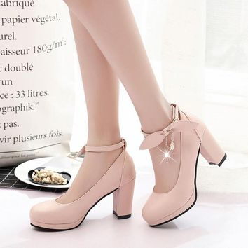 Women Shoes Mary Jane Ladies High Heels White Wedding Shoes Thick Heel Pumps Lady Shoes Blue Pink Beige Plus Size 2050