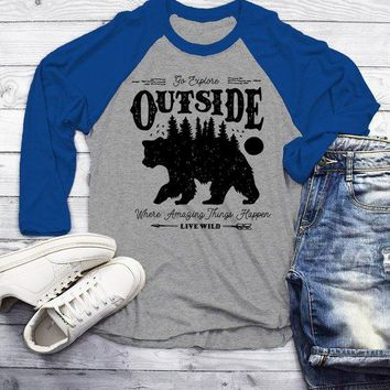 Man's Hipster Bear T Shirt Go Explore TShirt Camping Shirts Vintage Live Wild Graphic Tee 3/4 Sleeve Raglan