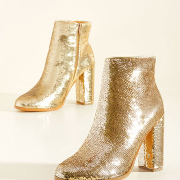A Sequin-Win Situation Metallic Bootie | Mod Retro Vintage Boots | ModCloth.com