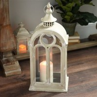 Distressed Cream Wood and Metal Lantern
