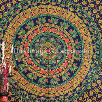 Indian Elephant Mandala Tapestry Throw Bedspread , Dorm Tapestry , Decorative Wall Hanging , Picnic Beach Sheet , Hippie Camel Tapestry