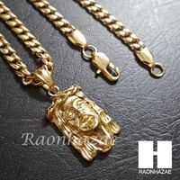 316L Stainless steel Gold Jesus Face w/ 5mm Cuban Chain SG016