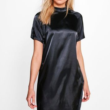 Hayley Short Sleeve Satin Shift Dress | Boohoo