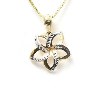 12.5MM 14K YELLOW HAWAIIAN OPEN PLUMERIA FLOWER WHITE GOLD DIAMOND CUT PENDANT