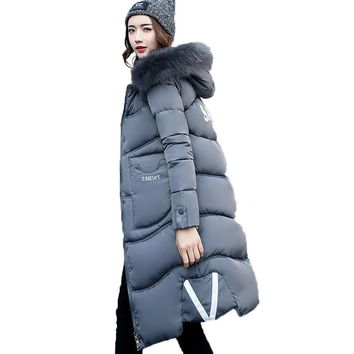 2017 Winter Jacket Women Faux Fur Collar Womens Coats Long Down Parka Lady Hoodies Parkas Warmer Classical Jackets Size M-XXXL