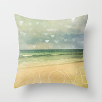 Beach Love Throw Pillow by Erin Johnson
