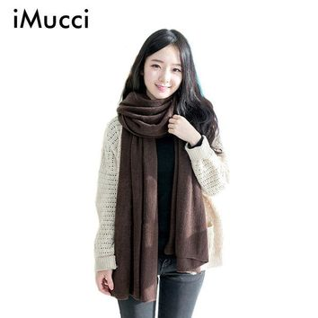 LMFU3C iMucci Solid Winter Scarf Women Warm Long Knitted Cashmere Infinity Scarves Wool scarfs Pashmina Fall Shawl Cape Black Coffee