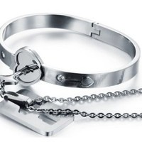 "His and Hers Matching Set Couple Titanium ""Only You Have My Key"" Bangle Bracelet Simple Korean Style in a Gift Box"