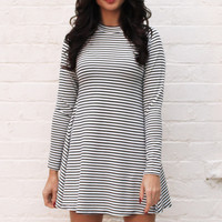 Long Sleeve Turtle Neck Stripe Swing Dress in Navy & White