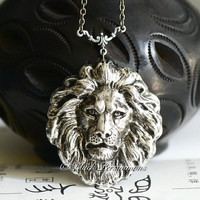 The Lion Necklace - American Made Antique Sterling Silver Plated Brass Stamping