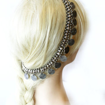 Vintage Headpiece, Belly Dance Hair Accessory,  Boho Head Chain, Hair Jewelry, Coin Head Piece