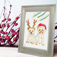 Christmas Portrait - Original Holiday Pet Portrait Watercolor Illustration - Custom Portrait Dog Art