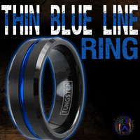 Tungsten Thin Blue Line Ring
