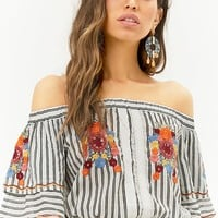 Floral Embroidered Striped Off-the-Shoulder Crop Top