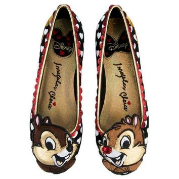 ESBI7E Irregular Choice Mickey Mouse & Friends Collection Women's Chip N Dale Black Flats