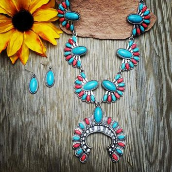 Red & Turquoise Long Squash Blossom Necklace