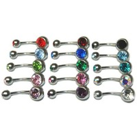 Lot of 15 Double Gem Cubic Zirconia CZ Crystal Belly Navel Rings 15 Colors 14g 7/16""