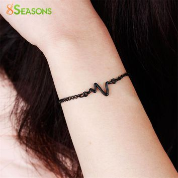 8SEASONS 3 Colors Heart Beat Heartbeat Rhythm Chain Bracelet with Dangling Jewelry Bracelets Golden Silver Black Color, 1 Piece