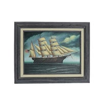 Tall Ship Painting, Vintage Framed Sailing Boat Art, Elegant Home Decor, Old Wall Hanging