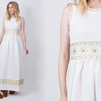vintage 60s white empire waist maxi dress grecian goddess sleeveless gold embroidered hippie boho
