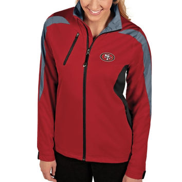 San Francisco 49ers Antigua Women's Discover Full Zip Jacket - Scarlet