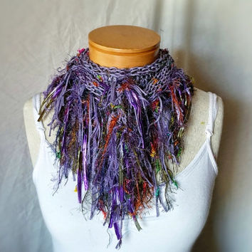 Purple Spring scarf  Fringe cowl neck Knit cotton  triangle shawl Lilac  With confetti colors Summer fashion accessory
