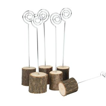 6pcs Rustic Wooden Base Wedding Place Name Card Holders