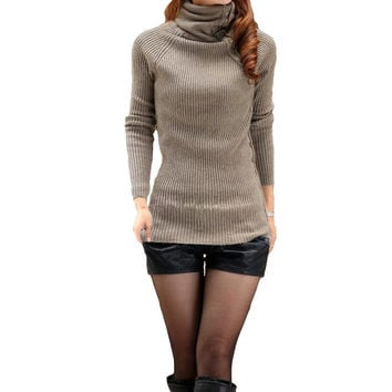Coffee Button Turtleneck  Long Sleeve Knitted Pullover Sweater