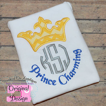 Prince Charming Inspired Crown Monogram Phrase - Custom Tee