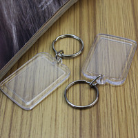 Refaxi 5pcs/Lot Rectangle Transparent Blank Acrylic Insert Photo Picture Frame Keyring Keychain DIY Split Ring Key Chain Gift