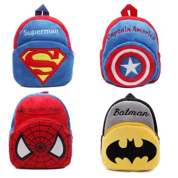 10pcs/Lot Children Plush Backpack The Avengers Boys School Bags Cartoon Batman Plush Toy Bags Mochila For Kids Free Shipping