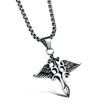Man's titanium steel pendant with angel wings devil pattern Classic retro necklace with chain