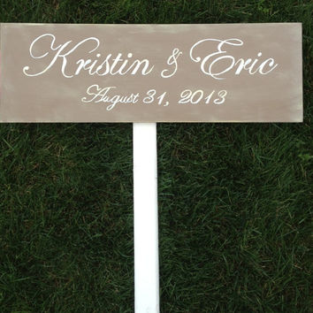 Custom Wedding Directional Sign, Distressed, Ceremony, Reception, 1 Sign with stake or ribbon